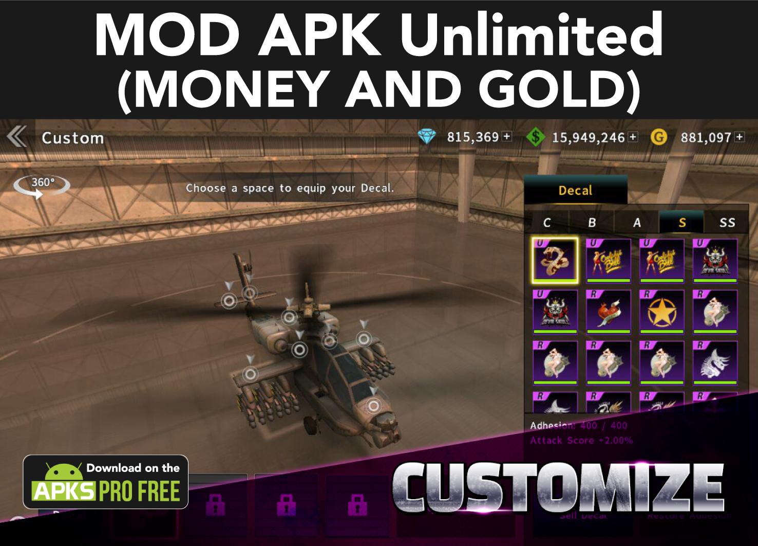 Gunship Battle: Helicopter 3D MOD Apk (Unlimited Money/ Gold)
